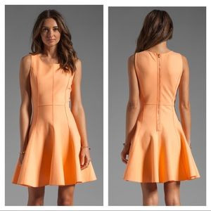 Halston Heritage peach fit and flare ponte dress